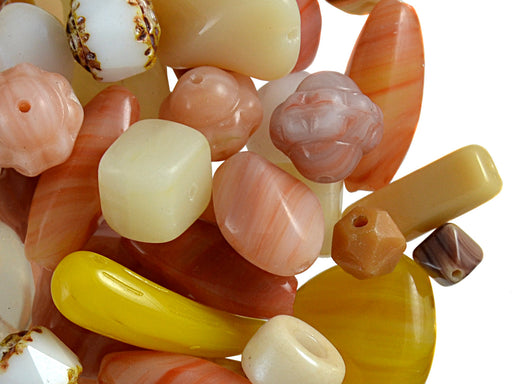 40 g Mix Beads, Various Shapes, Desert Sand, Czech Glass