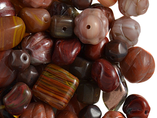 40 g Mix Beads, Various Shapes, Metallic Brown, Czech Glass
