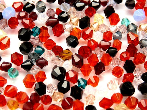 10 g Fire Polished Bicone Beads, Mix Summer, Czech Glass