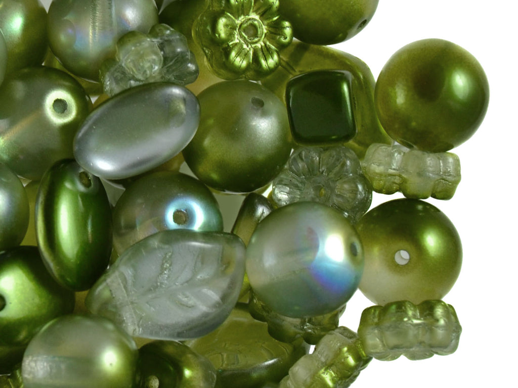 40 g Mix Beads, Various Shapes, Green, Czech Glass