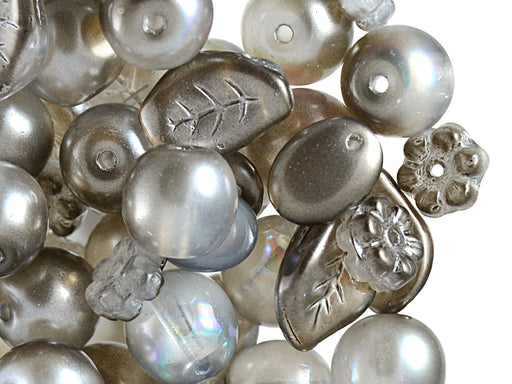 40 g Mix Beads, Various Shapes, Gray, Czech Glass