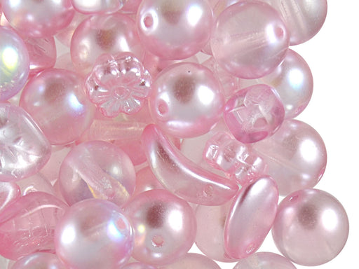 40 g Mix Beads, Various Shapes, Pink, Czech Glass