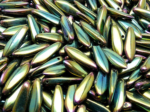 50 pcs Dagger Pressed Beads, 5x16mm, Jet Green Iris, Czech Glass
