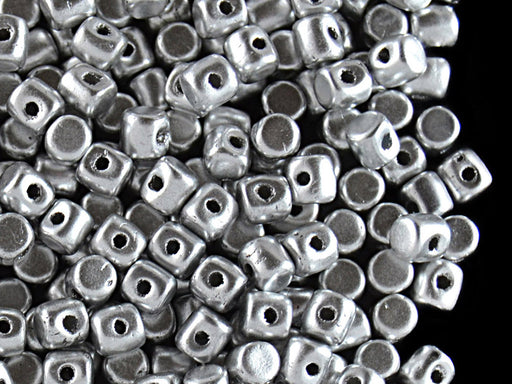 5 g Minos® Par Puca® Beads, 2.5x3mm, Silver Aluminum Mat, Czech Glass