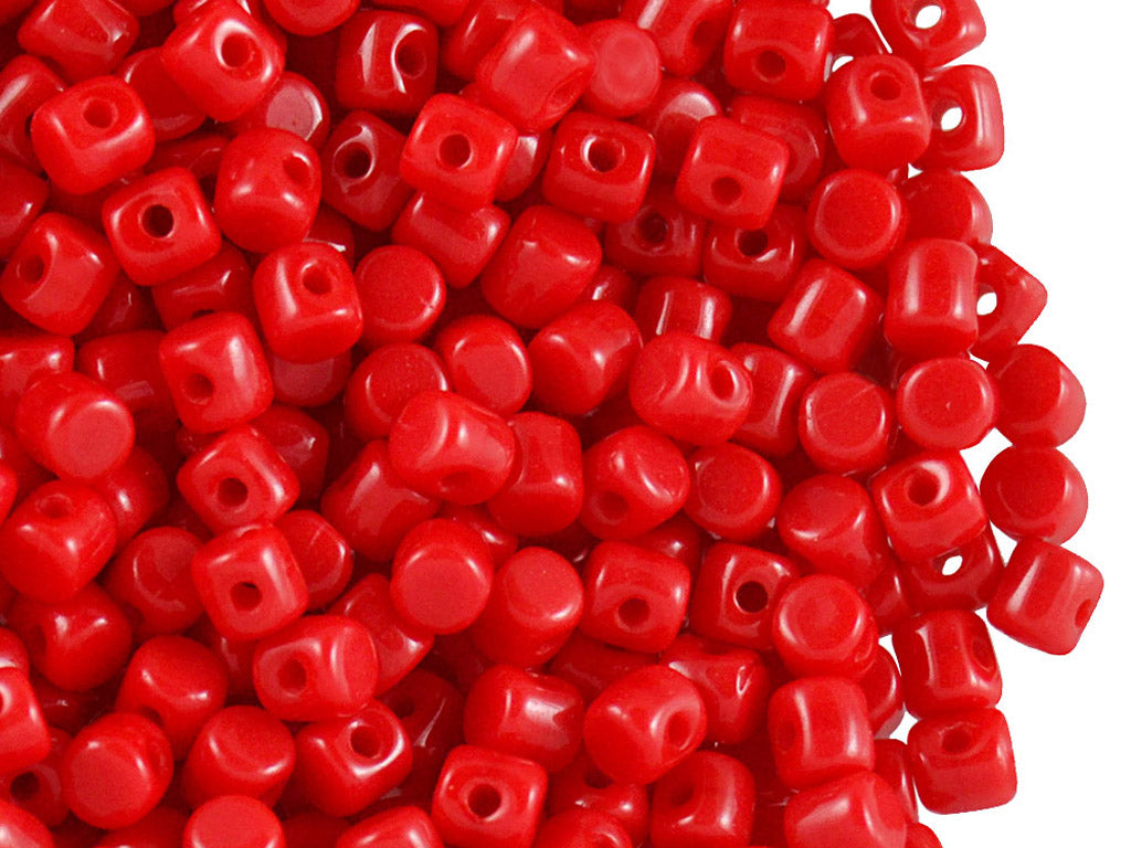 5 g Minos® Par Puca® Beads, 2.5x3mm, Opaque Coral Red, Czech Glass