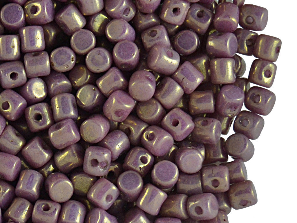 5 g Minos® Par Puca® Beads, 2.5x3mm, Opaque Mix Violet Gold Ceramic Look, Czech Glass