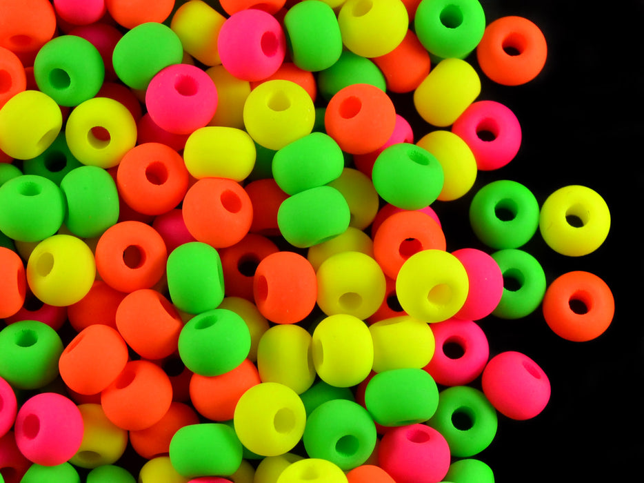 40 pcs Pony NEON Beads, 5.5mm, Mix Warm, Czech Glass