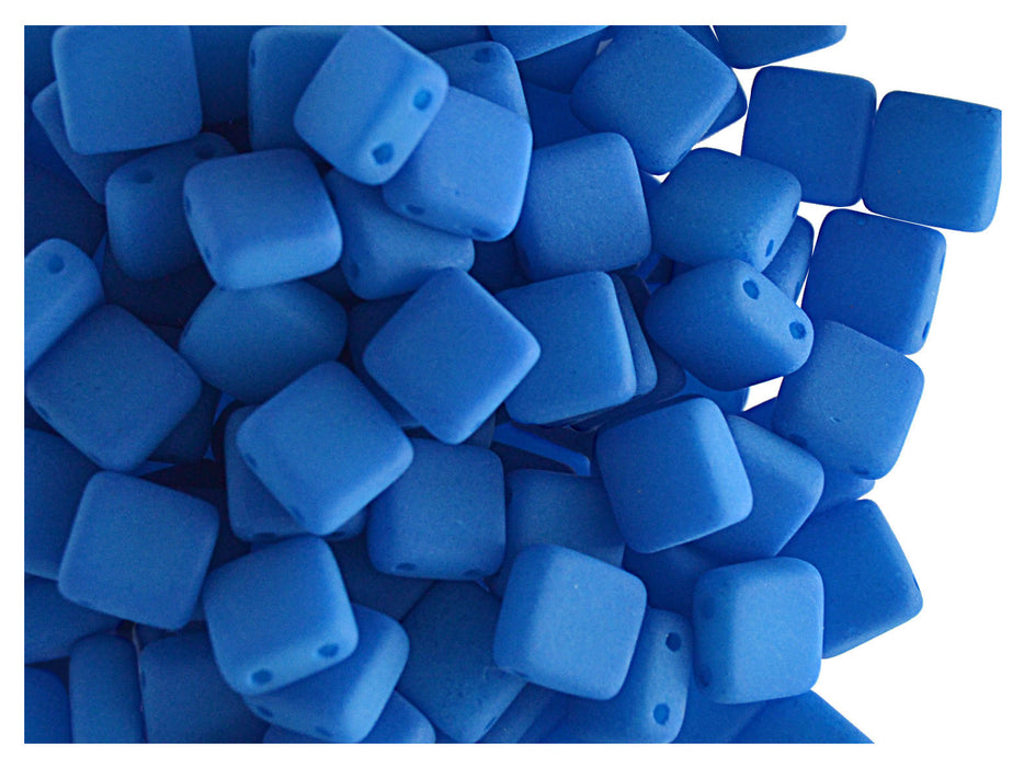 40 pcs 2-hole Tile NEON Beads, 6x6x3.2mm, Blue, Czech Glass