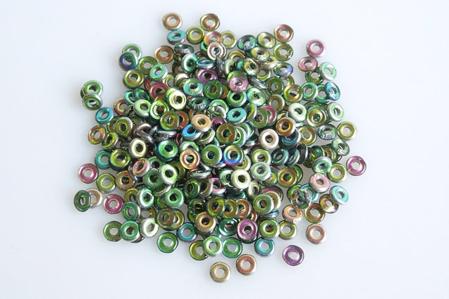 10 g O Bead® Pressed Beads, 1x4mm, Crystal Green Vitrail, Czech Glass