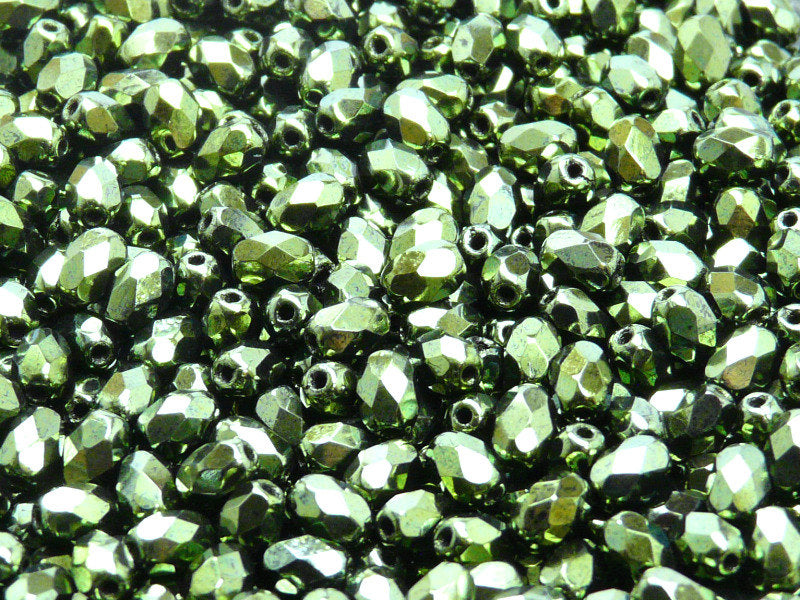 50 pcs Faceted Fire Polished Beads - Olive, 6x4mm, Dark Green Metallic, Czech Glass