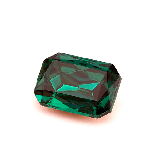 1 pc Imitation Crystal Stone Rectangle Octahedral, 14x10mm, Emerald, One Side Gold Foiled, Czech Glass