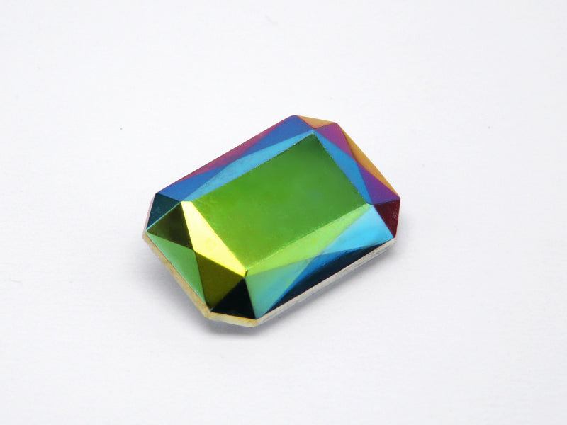 1 pc Imitation Crystal Stone Rectangle Octahedral, 25x18mm, Crystal Vitrail, Czech Glass