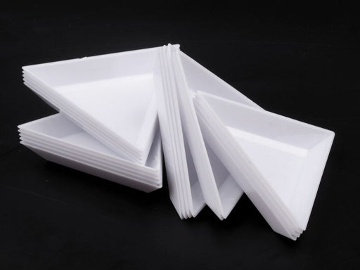 1 pc Plastic Bead Sorting Trays, Triangle, 75x75x75mm, White