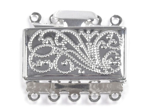1 pc Row Jewelry Fili Gee Box Clasp, 15x25mm, Silver Plated