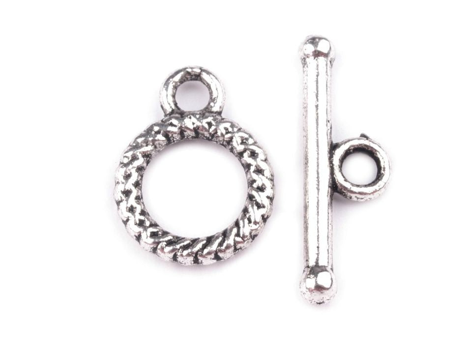 Smooth Round Toggle Clasp, 10mm, Platinum Plated