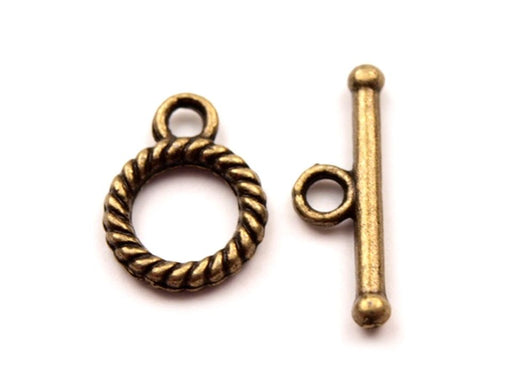 1 pc Smooth Round Toggle Clasp, 10mm, Brass Plated