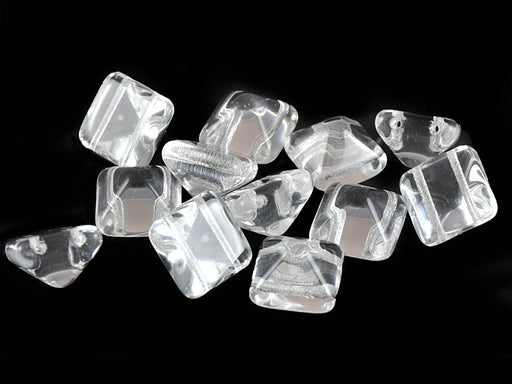 6 pcs Pyramid 2-hole Beads, 12x12mm, Crystal, Pressed Czech Glass