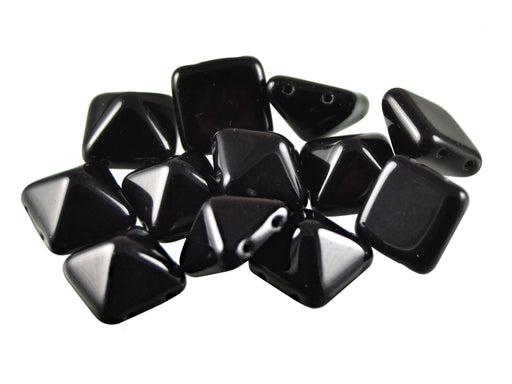 6 pcs Pyramid 2-hole Beads, 12x12mm, Jet Black, Pressed Czech Glass
