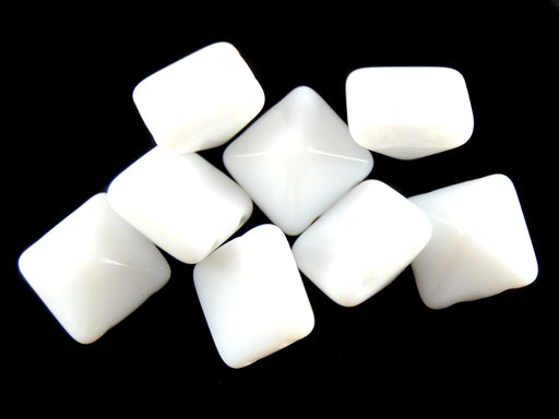 6 pcs Pyramid 2-hole Beads, 12x12mm, Alabaster, Pressed Czech Glass