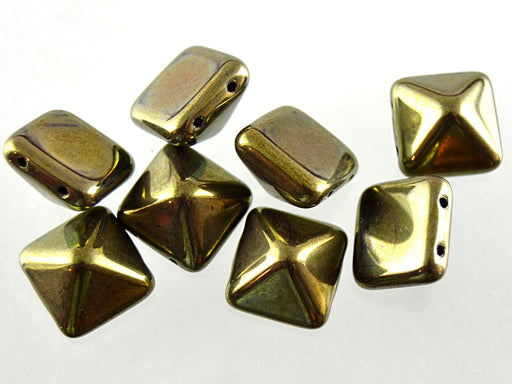 6 pcs Pyramid 2-hole Beads, 12x12mm, Jet Green Luster, Pressed Czech Glass