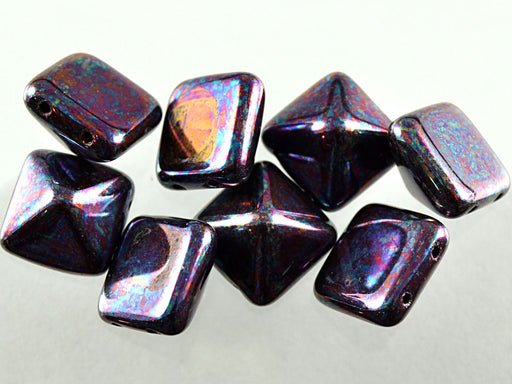 6 pcs Pyramid 2-hole Beads, 12x12mm, Jet Iris Luster, Pressed Czech Glass