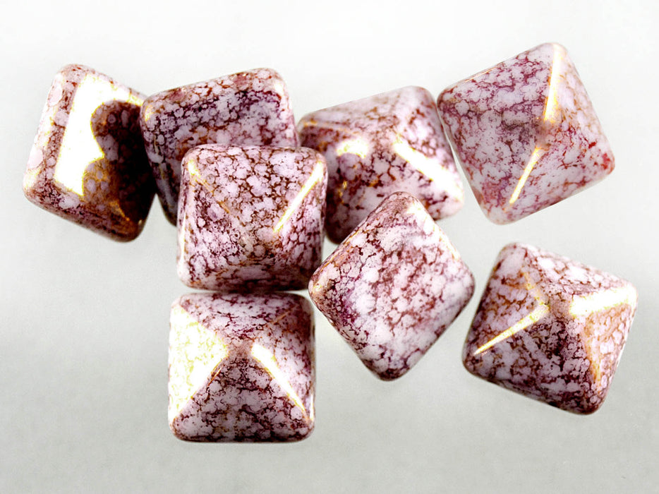 6 pcs Pyramid 2-hole Beads, 12x12mm, Alabaster Terracotta Purple, Pressed Czech Glass