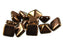6 pcs Pyramid 2-hole Beads, 12x12mm, Jet Bronze, Pressed Czech Glass