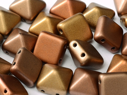 6 pcs 2-hole Pyramid Beads, 12x12mm, Metallic Mix, Pressed Czech Glass