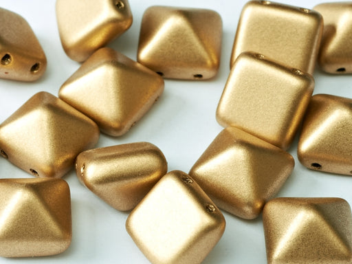 6 pcs 2-hole Pyramid Beads, 12x12mm, Aztec Gold, Pressed Czech Glass