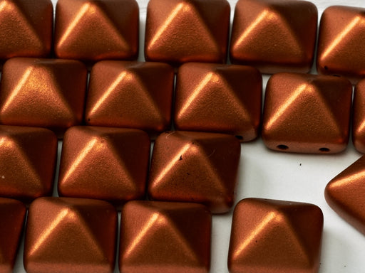 6 pcs 2-hole Pyramid Beads, 12x12mm, Copper, Pressed Czech Glass