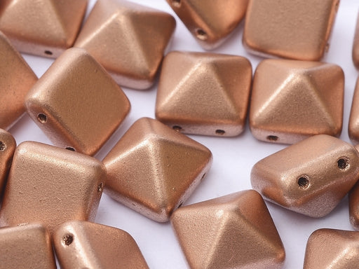 6 pcs 2-hole Pyramid Beads, 12x12mm, Vintage Copper, Pressed Czech Glass
