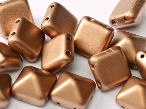 6 pcs 2-hole Pyramid Beads, 12x12mm, Camel Gold, Pressed Czech Glass