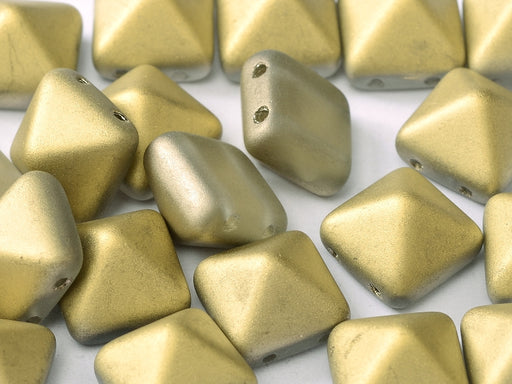 6 pcs 2-hole Pyramid Beads, 12x12mm, Crystal Amber Matte, Pressed Czech Glass