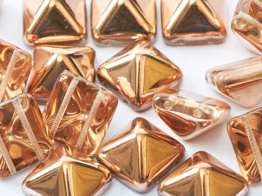 6 pcs 2-hole Pyramid Beads, 12x12mm, Crystal Capri Gold, Pressed Czech Glass