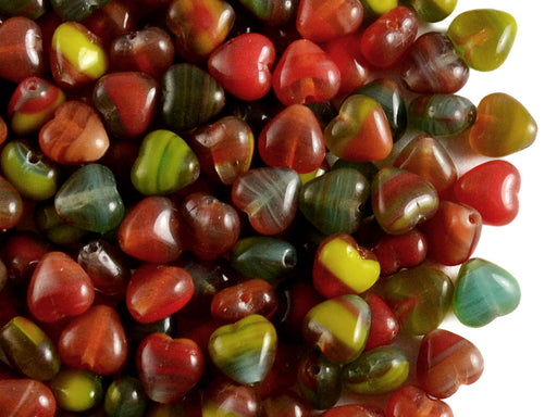 50 pcs Heart Pressed Beads, 6mm, Opaque Red Green, Czech Glass