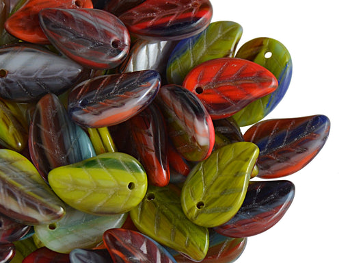 50 pcs Leaves Pressed Beads, 9x14mm, Multicolored, Czech Glass