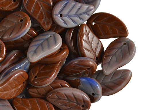 50 pcs Leaves Pressed Beads, 9x14mm, Brown Light Violet, Czech Glass