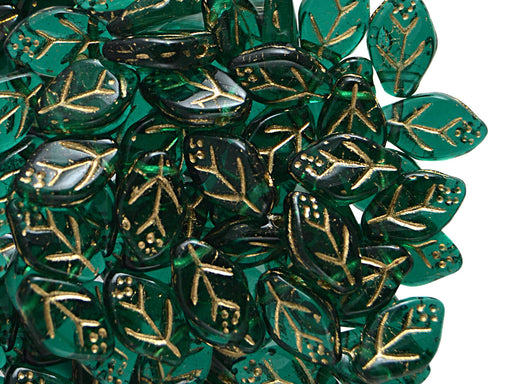 50 pcs Leaves Pressed Beads, 7x12mm, Emerald Gold, Czech Glass