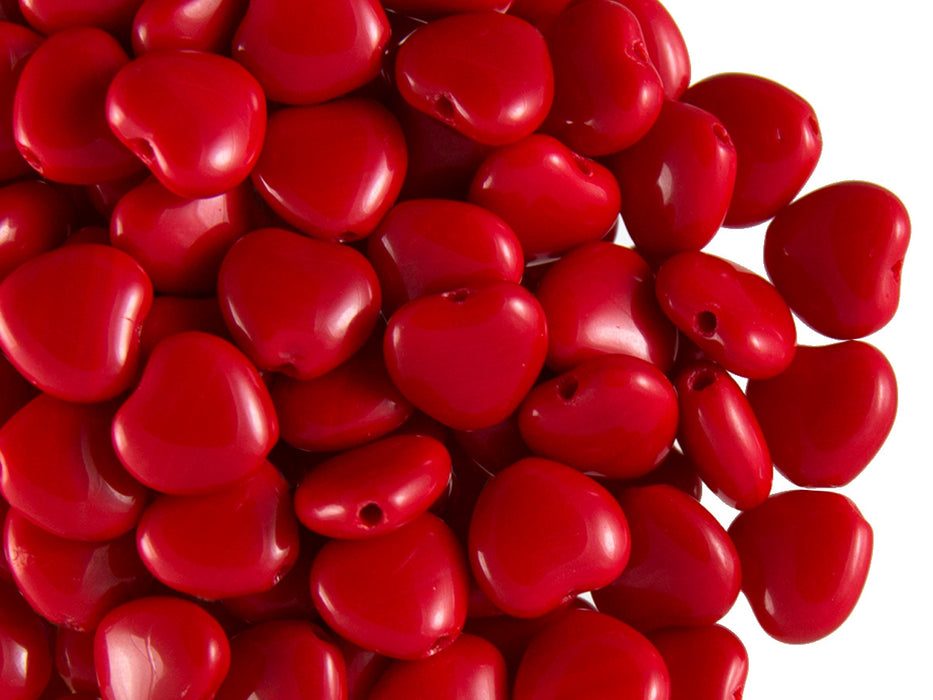 50 pcs Heart Pressed Beads, 8mm, Opaque Coral Red, Czech Glass
