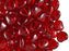 50 pcs Heart Pressed Beads, 8mm, Ruby, Czech Glass