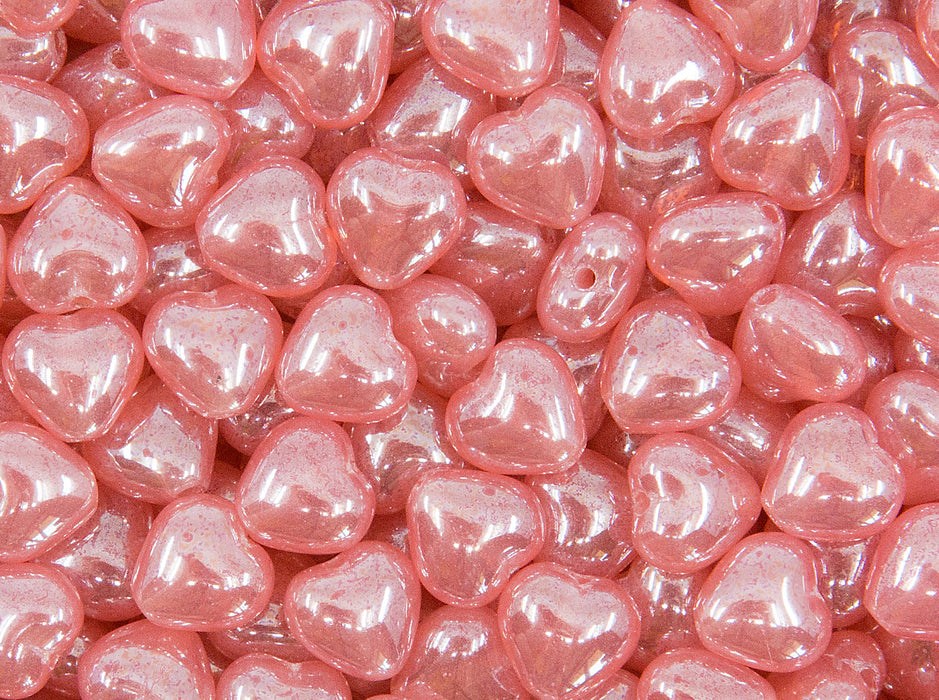 50 pcs Heart Beads 6 mm, Pink Opal Luster, Czech Glass