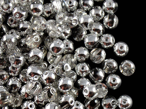 50 pcs 2-hole RounDuo® Pressed Beads, 5mm, Crystal Labrador, Czech Glass
