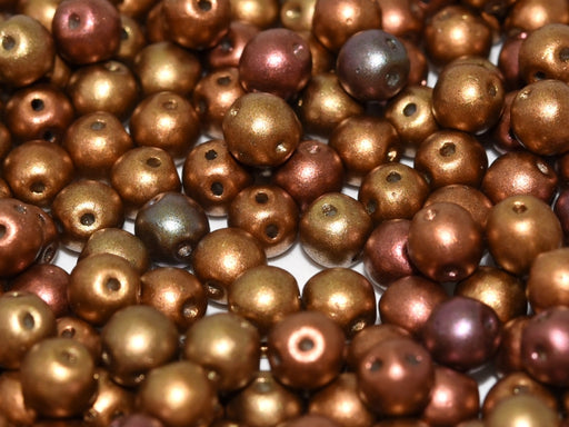 50 pcs 2-hole RounDuo® Pressed Beads, 5mm, Ancient Gold, Czech Glass