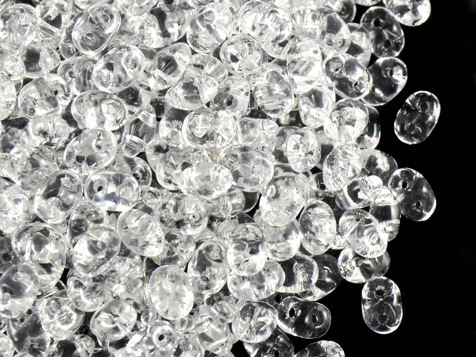 20 g 2-hole SuperDuo™ Seed Beads, 2.5x5mm, Crystal, Czech Glass