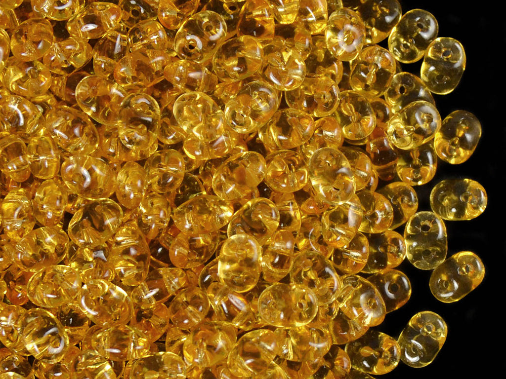 20 g 2-hole SuperDuo™ Seed Beads, 2.5x5mm, Topaz, Czech Glass