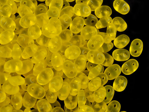 20 g 2-hole SuperDuo™ Seed Beads, 2.5x5mm, Amber Matte, Czech Glass