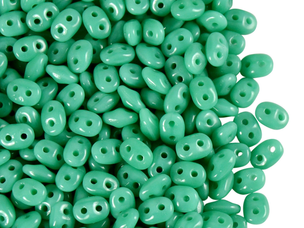 2-hole SuperDuo™ Seed Beads, 2.5x5mm, Opaque Turquoise Green, Czech Glass