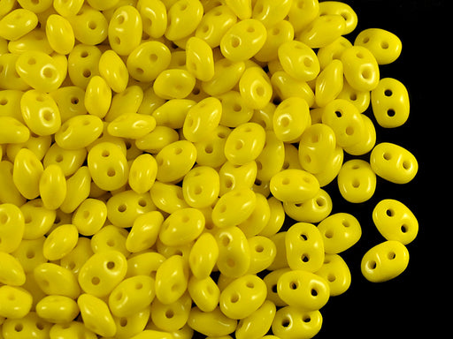 20 g 2-hole SuperDuo™ Seed Beads, 2.5x5mm, Lemon (Yellow Opaque), Czech Glass