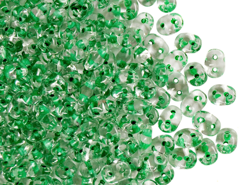 2-hole SuperDuo™ Seed Beads, 2.5x5mm, Crystal Light Green Lined, Czech Glass