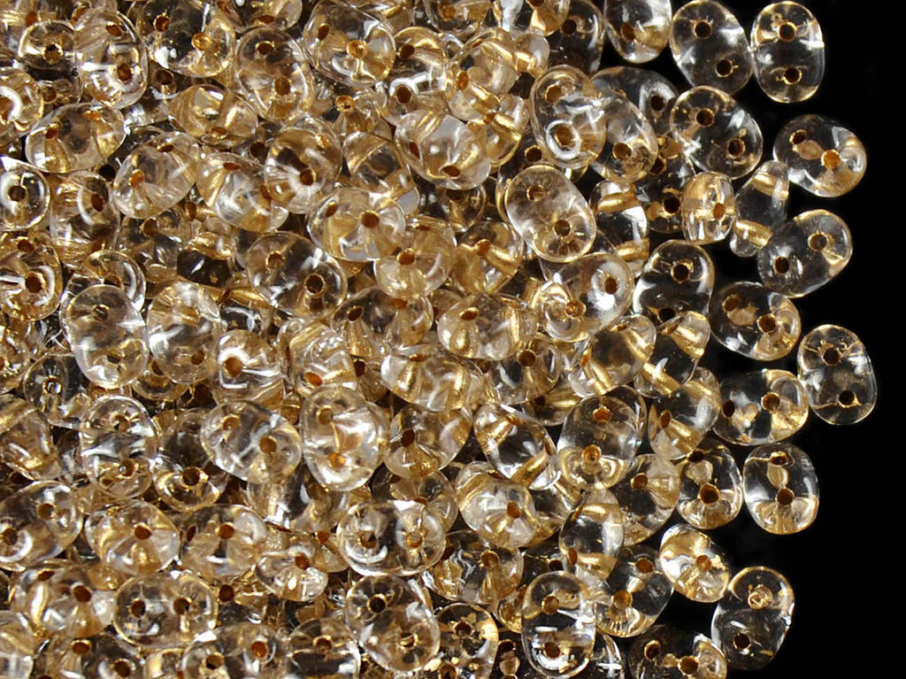 2-hole SuperDuo™ Seed Beads, 2.5x5mm, Crystal Bronze Lined, Czech Glass